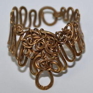 Vintage Midcentury Artisan Twisted Copper Bracelet